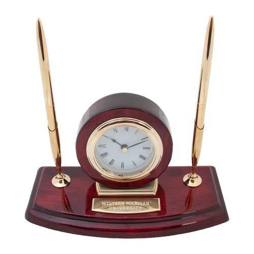 Western Michigan University Wood - CollegeFanGear Western Michigan Executive Wood Clock and Pen Stand 'Western Michigan University Engraved'