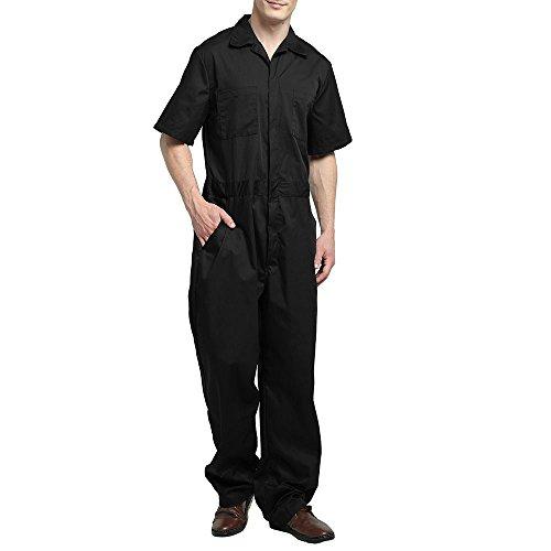 TopTie Men's Basic Short-Sleeve Work Coverall Elastic Waist, Black, 3XL