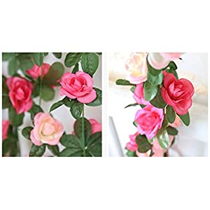 Babycola's Mum 2 Pack Fake Rose Vine Flowers Plants Artificial Flower Home Hotel Office Wedding Party Garden Craft Art Decor (Pink) 5