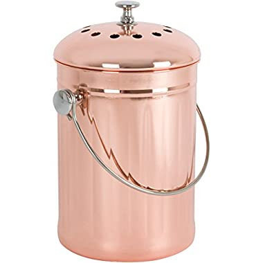 Copper-Plated Stainless Steel Kitchen Compost Bin with Two Odor-Absorbing Filters - 1 Gallon - Premium Copper Countertop Container for Indoor Use and Gardening