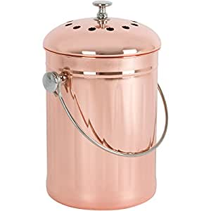 Copper-Plated Stainless Steel Kitchen Compost Bin with Two Odor-Absorbing Filters – 1 Gallon – Premium Copper Countertop Container for Indoor Use and Gardening