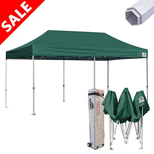 Commercial Grade Green - Eurmax Premium 10 x 20 EZ Pop up Canopy Tent Wedding Party Canopies Gazebo Shade Shelter Commercial Grade Bonus Wheeled Bag (Forest Green)