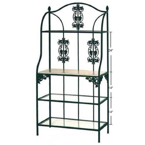 Bakers Rack w/Grapes, Jade Patina, Cherry, 1 Wood & 3 Glass Shelves Shelves ()