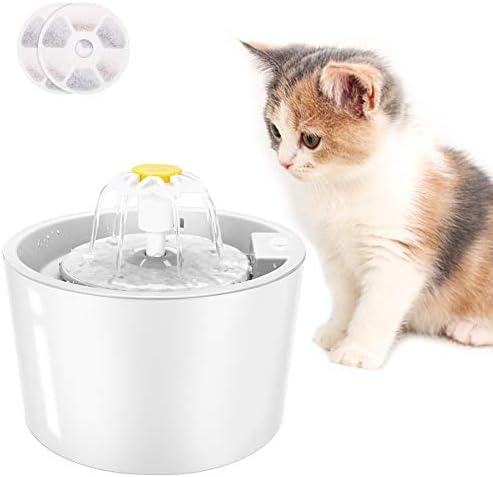 Fuente de Agua para Gatos, Automática Súper Silenciosa 1.6L con Función de Sensor Infrarrojo (Incluye 2 filtros, Blanco)