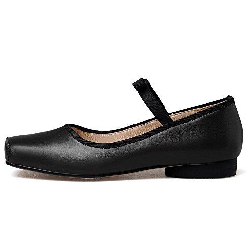 Negen Zeven Lederen Dames Vierkante Neus Comfort Handgemaakte Jurk Ballet Flats Schoenen Zwart