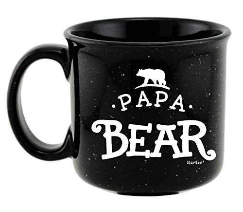 Shop4Ever Papa Bear Novelty Campfire Speckled Ceramic Coffee Mug Tea Cup Gift ~ Father's Day ~ (Speckled, 15 oz.) Bear Ceramic Coffee Mug