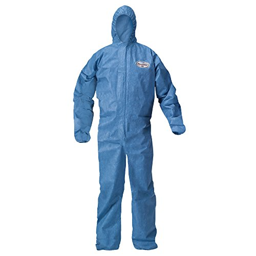 Kleenguard A20 Breathable Particle Protection Hooded Coveralls (58517), REFLEX Design, Zip Front, Elastic Wrists & Ankles, Blue Denim, 4XL, 20 / -