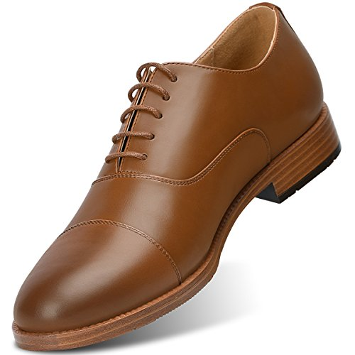 sandes Men'sOxford Dress Shoes Leather Formal Shoes (11, Brown)