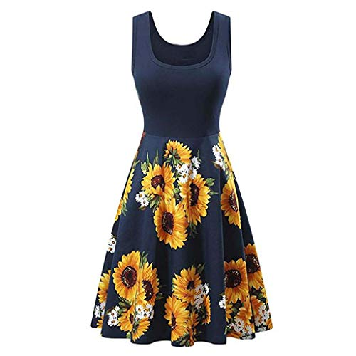 Euone Dress Clearance, Women Patchwork Vintage Dress Sunflower Print Sleeveless Ruched Swing Dresses O-Neck Elegant A-Line Party Ball Gown