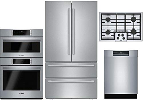 "Bosch 4 Piece Kitchen Package B21CL81SNS 36"" Refrigerator,HBL87M52UC 30""Electric Oven/Microwave Wall Oven,NGM5056UC 30""Gas Cooktop, SHEM78WH5N 24""Built In Semi-Integrated Dishwasher in Stainless Steel"