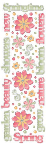 Fiskars Rain Dots Dimensional Epoxy Stickers, Springtime Words and Shapes - Epoxy Rain Dots