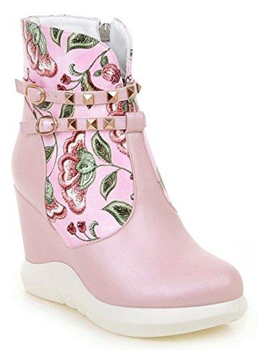 Idifu Femmes Doux Floral Plate-forme Cloutée Talons Hauts Coin Cheville Bottes Courtes Avec Fermeture À Glissière Rose