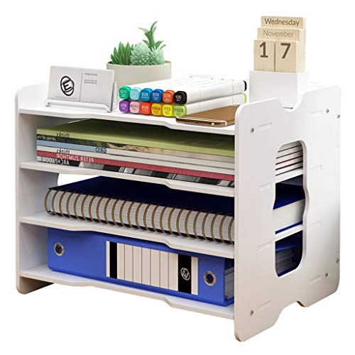 Jinxin-Office Products Desk Organisers, Wooden File Holder Sorter Letter Tray Shelf Book Storage with 4 Layers,White…