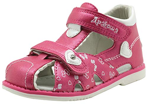 Apakowa Boy's and Girl's Double Adjustable Strap Closed-Toe Sandals (9 M US Toddler, -