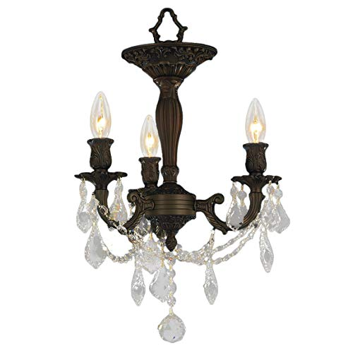 Worldwide Lighting Windsor Collection 3 Light Flemish Brass Finish and French Pendalogue Clear Crystal Semi Flush Mount Ceiling Light 13