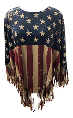 (Nickanny's American Flag Poncho Pullover Topper Jacket Ruana with Fringe Lightweight (American)