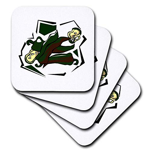 3dRose Susans Zoo Crew Food Vegetable Hot Pepper - Peppers green abstract square graphic - set of 4 Coasters - Soft (cst_175650_1)