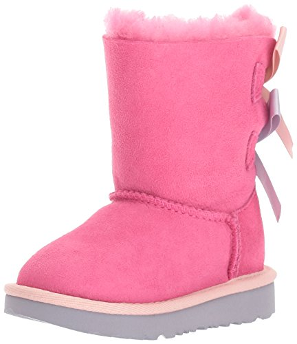UGG Girls T Bailey Bow II Pull-On Boot, Pink Azalea/Icelandic Blue, 12 M US Little Kid (Bailey Bow Uggs For Girls)