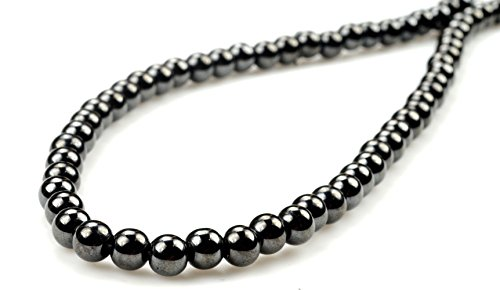 (PURPLE WHALE Magnetic Hematite Round Bead Necklace 20