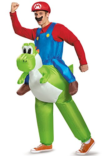 Disguise Men's Mario Riding Yoshi Adult Costume, Multi, One Size
