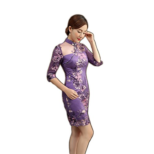 Qipao Retro lace cheongsam Improved cheongsam Short cheongsam Three-quarter sleeves Summer. by YY-Chipao