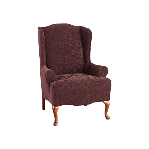 (Sure Fit Stretch Jacquard Damask - Wing Chair Slipcover - Raisin (SF40342))