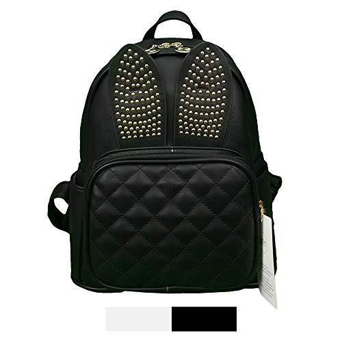 Mini Backpack For Girls Cute Rabbit Design Fashion Leather Bag Women Casual Fashion (Rabbit Black)