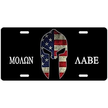 Molon Labe License Plate Spartan Helmet American Flag 2nd amendment Novelty Tag