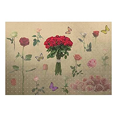 Roses and Butterflies with Heart Textured Background Wall Mural, Made For You, Beautiful Object of Art