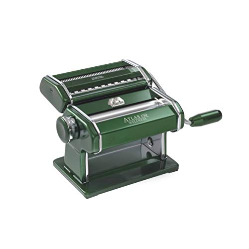 Marcato Atlas 150 Machine, Made in Italy, Green, Includes Pasta Cutter, Hand Crank, and Instructions