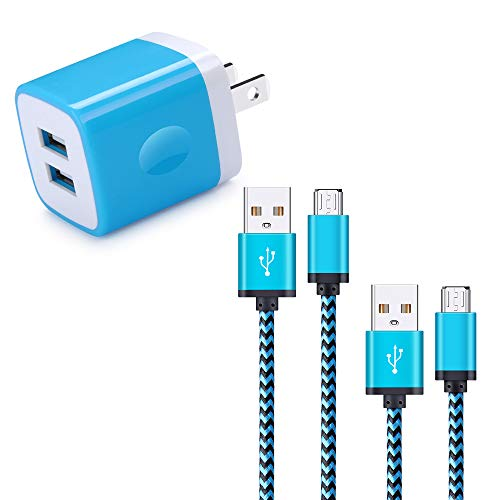 (Charging Block, 2-Port Power Adapter USB Travel Fast Charge Plug with 6ft 3ft Braided Nylon Micro USB Quick Charging Cable Compatible Samsung S7 Edge/S7/S6 Edge/S6+/S6/S5/Note Edge/5/4, Moto X, LG,HTC)
