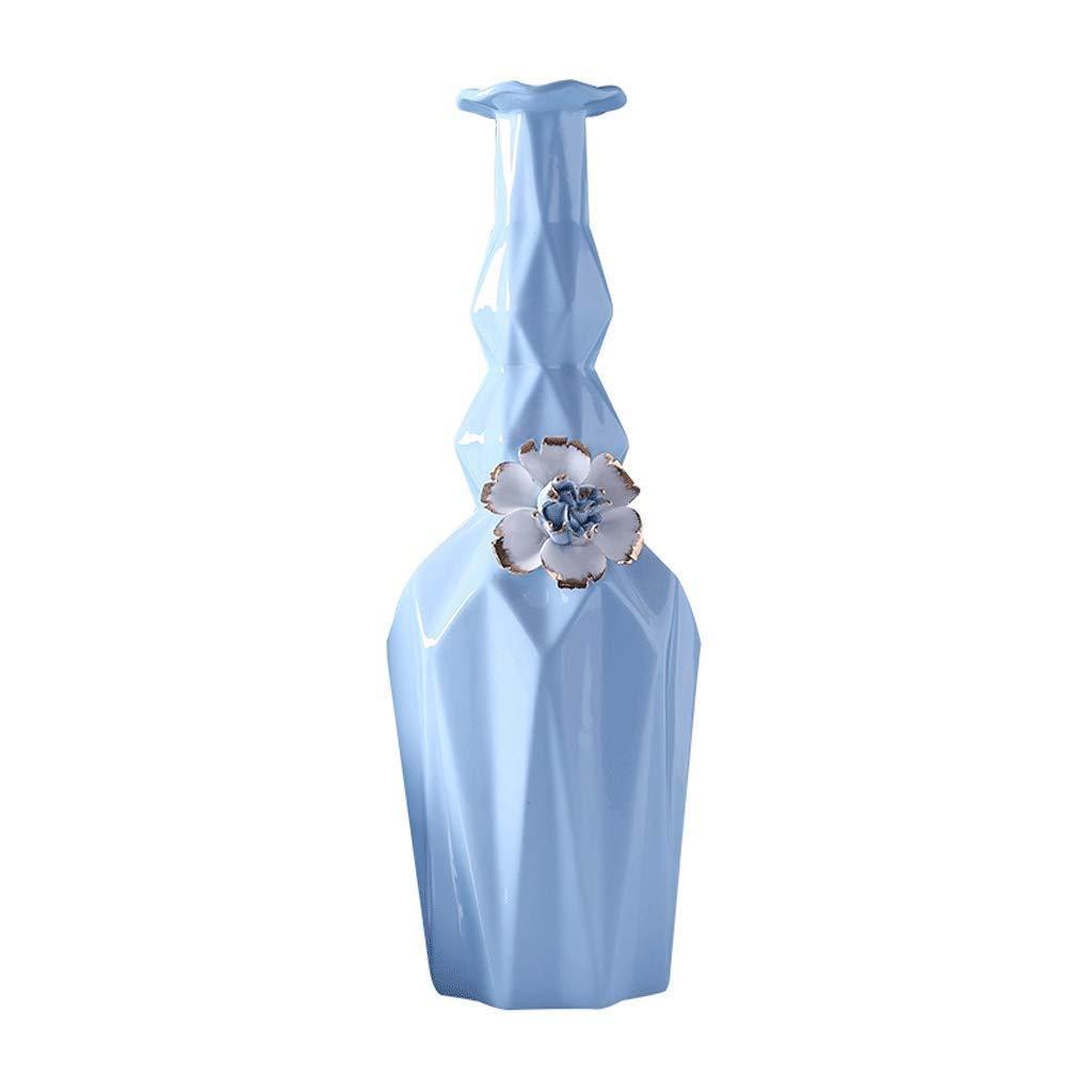 円柱装飾花瓶 花瓶AXZHYZ190603019モダンホームセラミッククリエイティブ装飾フラワーアレンジメントブルー38.5センチ×13センチ×13センチ 写真円柱装飾花瓶ライフ花瓶フラワーショップブーケボックス B07SNCD1NG