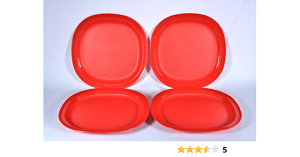 Tupperware Square Plates Set of Four in Rare Red Wine Color 8 inches Rare New