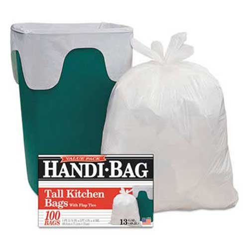 Handi-Bag Super Value Pack Trash Bags, 13gal, .6mil, 23 3/4 x 28, White, 100/Box