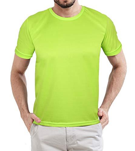 Neon Undershirt Compression Wicking T Shirt - Mens Scrubs Short Sleeve Neon Green Tee Shirt (XL)