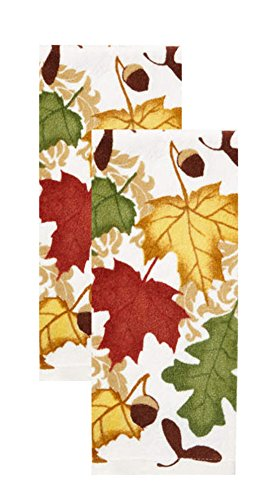 Falling Harvest Leaves Kitchen Dish Towel Set 2-Pack