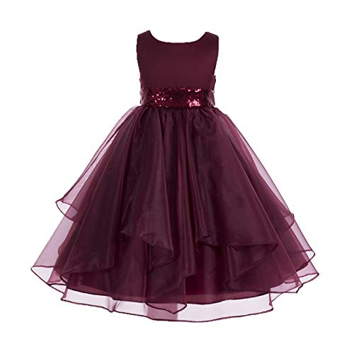 ekidsbridal Asymmetric Ruffled Organza Sequin Toddler Flower Girl Dress Pageant Gown 012S 6 Burgundy