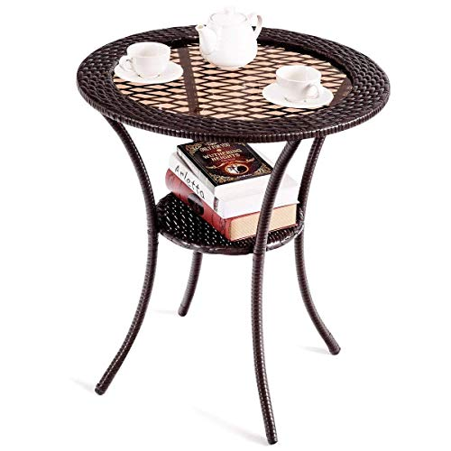 Round Rattan Wicker Coffee Table with Lower Shelf with ebook -