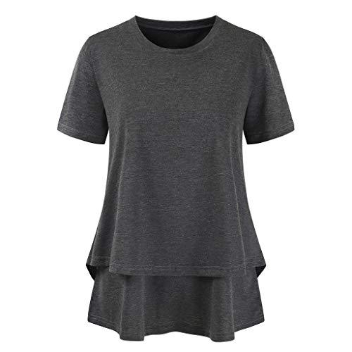 Haluoo Women's Short Sleeve Nursing Tops Round Neck Double Layer Wrap Breastfeeding Tunic Blouse T Shirt Maternity Clothes (Small, Dark Gray)
