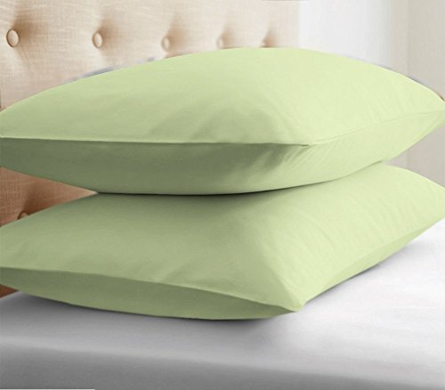 lection Luxury Sateen Two (2 Pieces) Pillow Covers Egyptian Cotton 400 Thread Count Pillowcases-Standard Size Sage Solid ()