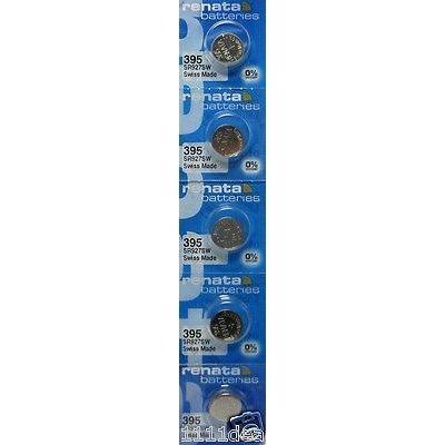 Strip of 5 Genuine Fresh Renata 395 SR927SW Swiss Made Silver 1.55v Batteries ()