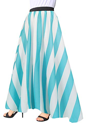 Afibi Women Chiffon Mopping Floor Length Big Hem Solid Beach High-Waist Maxi Skirt (XX-Large, Blue)