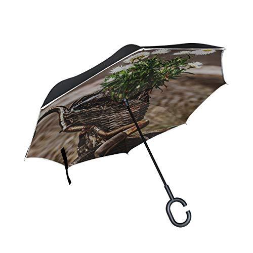 RH Studio Inverted Umbrella Bicycle Bouquet Basket Large Double Layer Outdoor Rain Sun Car Reversible Umbrella by RH Studio