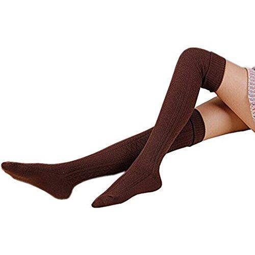 Express Gear Womens Girl (AStorePlus Women Soft Over Knee Knit Stockings Girls Winter Leg Warmers Knitted Crochet Boot Socks Leggings, Coffee)
