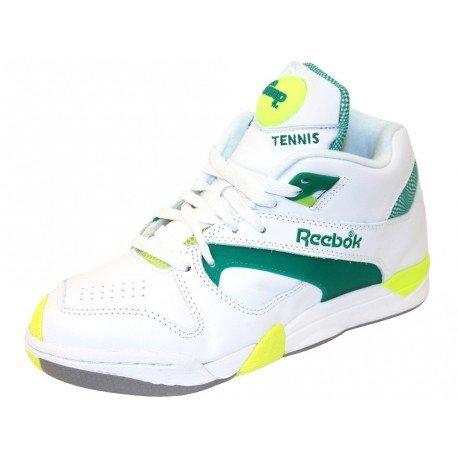 Reebok Court Victory Pump Tennis Shoe,White/Green/Citron,8 M US Men's/9.5 M US Women's
