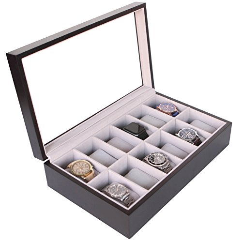 Solid Espresso 12 Slot Wood Watch Box Organizer with Glass Display Top by Case Elegance (Case Rosewood Watch)
