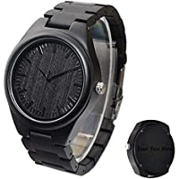 Custom Wood Wrist Watch for Men Ebony Engraved Wooden Watch Groomsmen Best Man Gift Father's Day Gift - Free Engraving