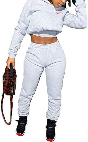 Women's Fashion 2 Piece Outfits Pullover Hoodie Sweatpants Set Workout Tracksuits Jumpsuits Loungewear