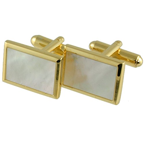 Select Gifts Cuff links Onyx Cufflinks~Gold-tone Rectangle Onyx Cufflinks + Hand Made Black Pouch