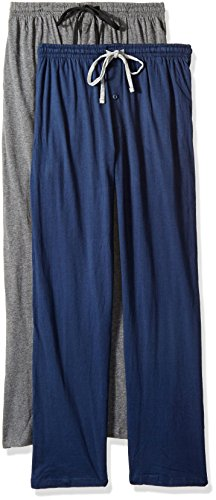 Hanes Men's Solid Knit Jersey Pajama Pant (Pack of Two Pairs), Navy/Grey, Medium